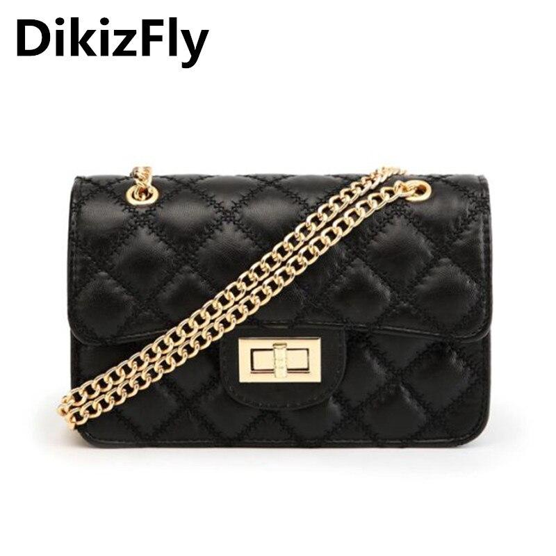 c68cacf103b Dikizfly Мода 2018 Для женщин Сумки ромбовидная решетка Для женщин Сумки  цепочки Сумки на плечо известный Дизайн сумка Bolsa feminina