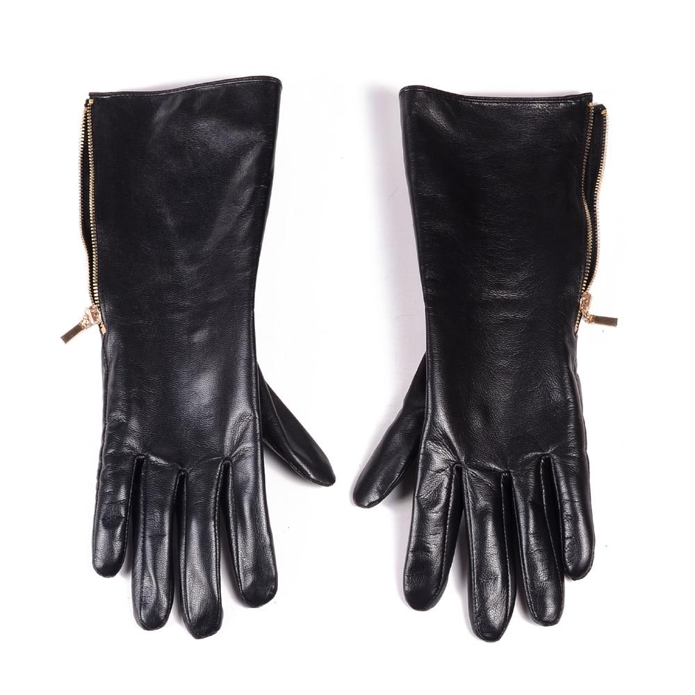"30cm(11.8"") Men's Real Leather Goat Skin Middle long side zipper GAUNTLET gloves Customizable gloves Motocycle gloves"