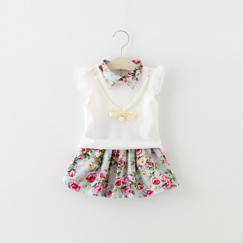 2016 Hot Sale Summer Style Baby Girls Clothing Set Cartoon Sleeveless T-shirt+Skirt 2pcs/set Baby Girls Clothes Set