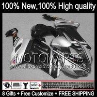 Black HOT Fairing Body For KAWASAKI NINJA ZX6R 07 08 ZX 6R ZX636 Silver Black 10K19