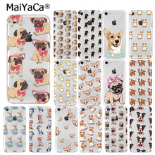 MaiYaCa Soft TPU Phone Case For iphone 6 Case Cute Cartoon Dog Protect Back Cover For iphone 5 5S SE 6 6S 7 8 Plus Puppy Pug rose cartoon owl imd tpu back case for iphone se 5s 5