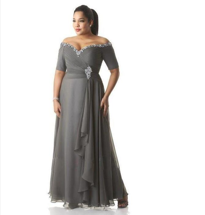 Mother Of The Bride Dresses Off Shoulder Sheer Long Sleeves Lace Appliques Beads Sweep Train Long Plus Size Party Evening Gowns