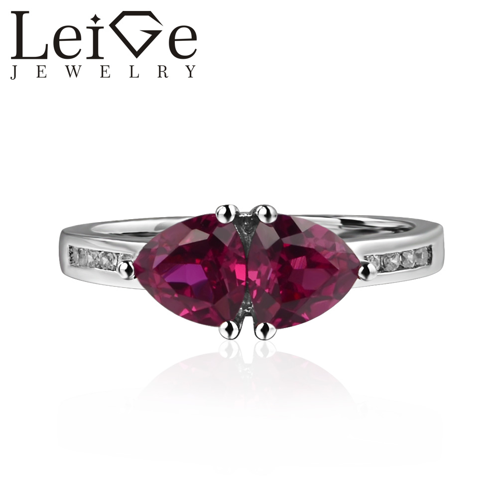 Leige Jewelry Genuine Lab Ruby Ring Romantic Gifts July Birthstone 925 Sterling Silver Ring Trillion Cut Red Gemstone