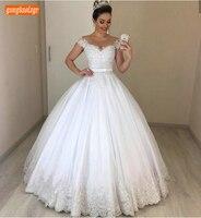 Роскошное Кружевное белое свадебное платье с аппликацией, длинное фатиновое бальное платье с открытыми плечами, свадебное платье цвета сло...