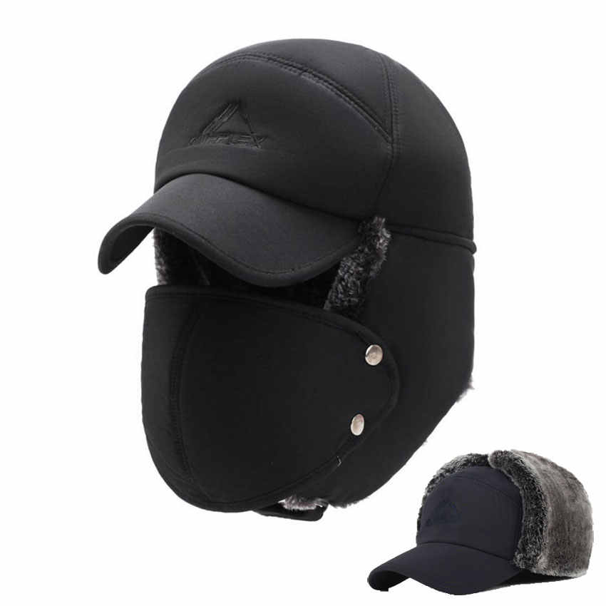 24c81ba6e8e Mens Winter Hats Ear Flaps Bomber Hats With Brim And Face Mask Warm Hat For  Men