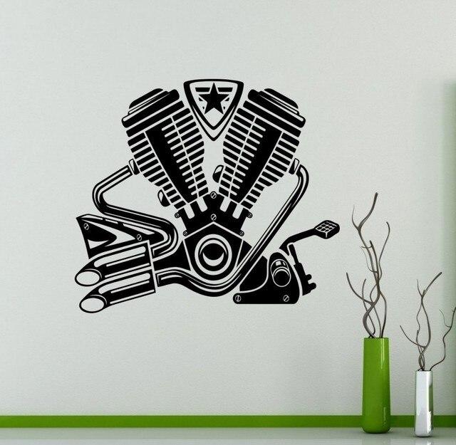 New Arrival Engine Motor Wall Decal Bike Motor Vinyl Sticker Home - Custom vinyl wall decals for garage