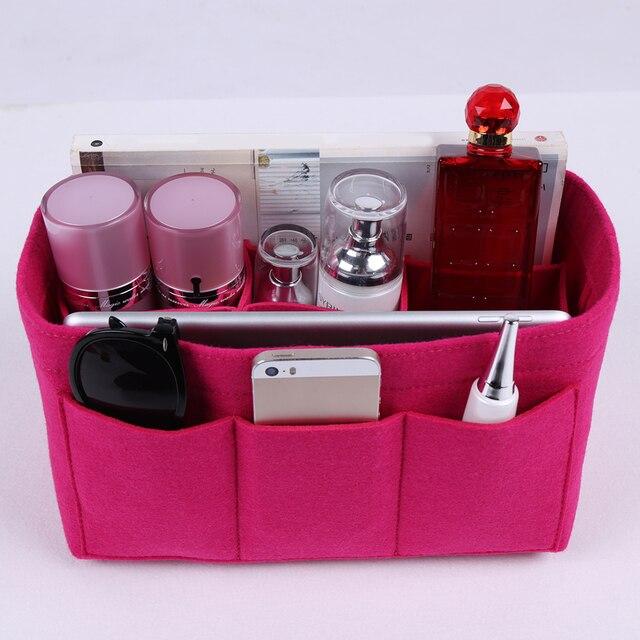 Felt Makeup Bag Organizer Insert Handbag Multi Functional Travel Cosmetic