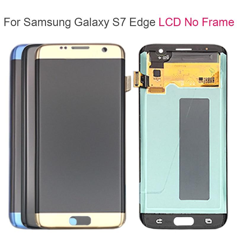 Or noir SUPER AMOLED 5.5 ''remplacement pour SAMSUNG Galaxy S7 edge G935 G935F LCD affichage numériseur assemblée avec cadre