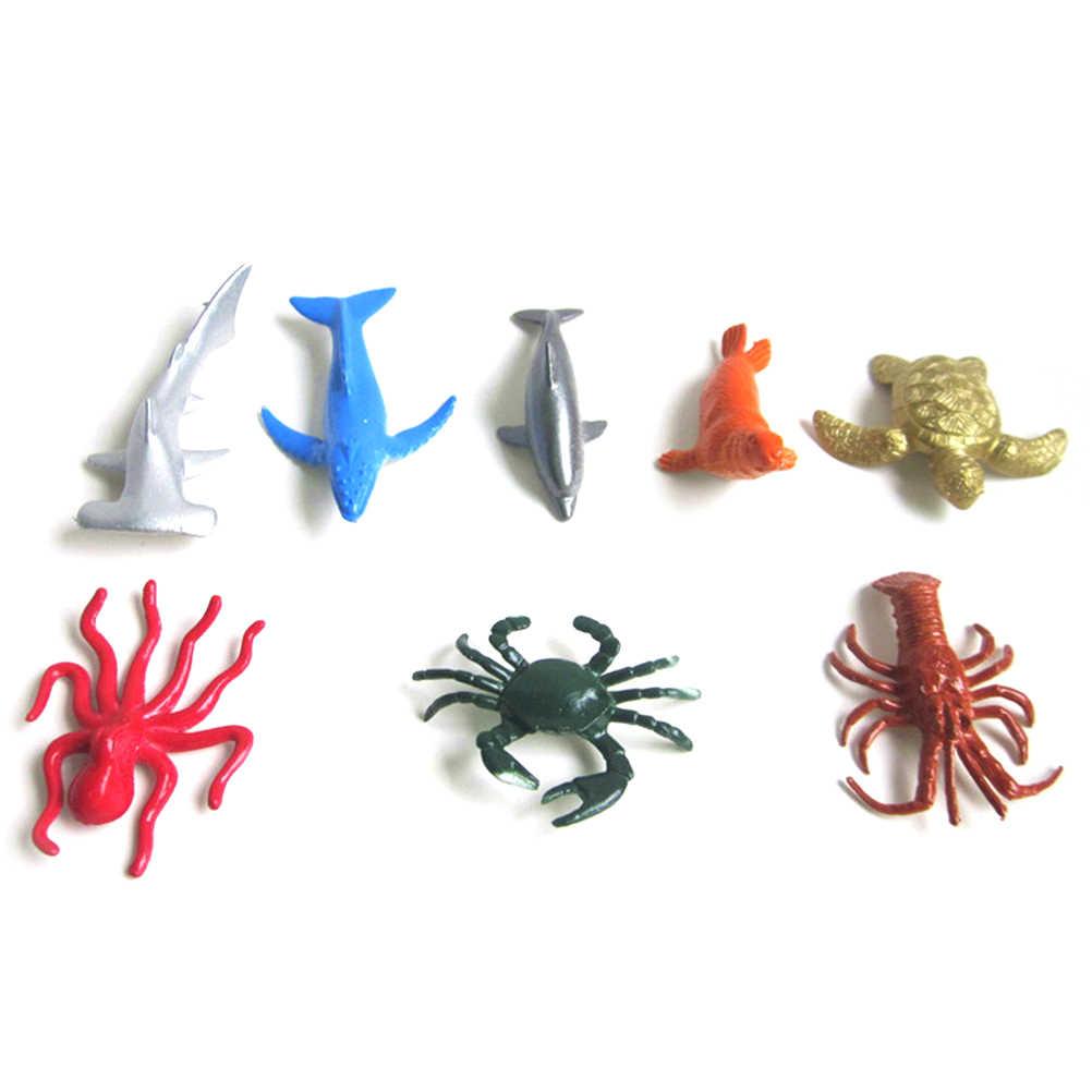 Vida marinha Conjunto de Animais Do Mar Baleia Tubarão Polvo Caranguejo Tartaruga Golfinho Pinguim Presente Das Crianças Brinquedos Modelo 8 Estilos