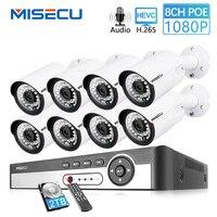 MISECU 8CH 1080 P CCTV камера система аудио запись 2MP цилиндрическая POE IP камера Водонепроницаемый Открытый ночного видения комплект видеонаблюдения