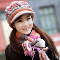 Thermal Cold Proof Winter Hat Female Knitted Hat Scarf Wool Cap Twinset Knitted Beret Hat Wool