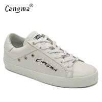 CANGMA Italian Designer Womens Shoes Luxury Brand Handmade Female Flats Big Size White Genuine Leather Casual