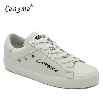 CANGMA Italian Designer Womens Shoes  Handmade Female Flats Big Size White Genuine Leather Sneakers Casual Shoes For Woman