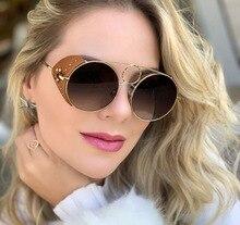 PAWXFB 2019 New Punk Sunglasses Women Luxury Decoration Men Leather Frame  Eyewear Female