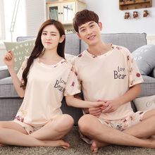 Summer Couple Pamajas Sets High Quality Lady Pyjamas Short Pants For Women Short Sleeved Men Sleepwear Cartoon Nightgowns