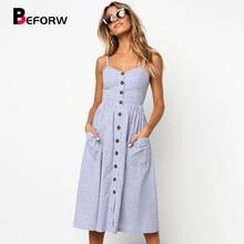 BEFORW Women Boho Floral Dress 2019 Summer Sexy Straps Button Pocket Stripe Beach Dress Ladies Casual Sundress Dresses vestidos