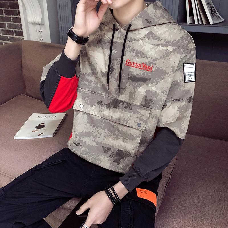 Camouflage Hoodie Men Hip hop Style Oversized Autumn Sweatshirt Fashion Sleeve Patchwork Brand Mens Clothing Streetwear