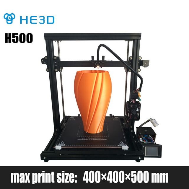 HE3D newest DIY 3D printer H500, large printing size 400*400*500mm, heat bed to 120degree quickly,UPS support ,end stop filament