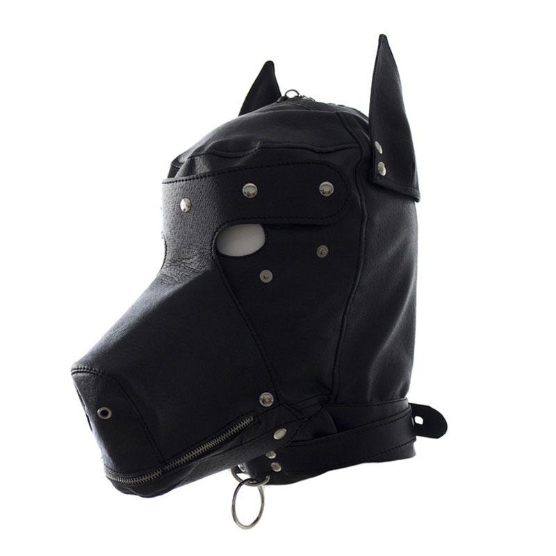 BDSM Bondage Fetish Hood PU Leather Dog Mask Head Harness Sex Toy Slave Collar Leash Mouth Gag SM Couple Restraints Adult Games