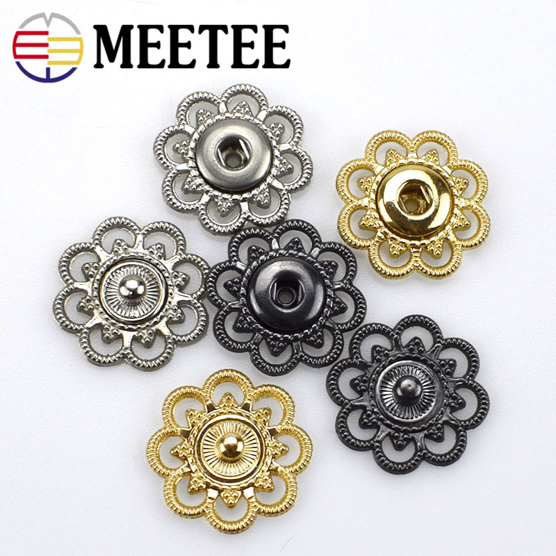 6 Sets Metal Clothes Bags Buttons Press Studs Snaps Hollow Pattern Domestic 21mm
