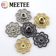 Meetee 10sets Hollow Metal Snap Buttons 22/25mm Fastener Press Stud Buckle DIY Coat Clothes Sewing Application Accessories D3-2
