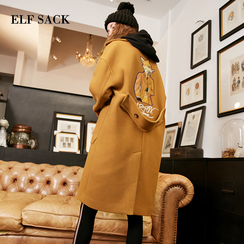 ELF SACK Winter Coat New Women Wide Lapel Belt Pocket Wool Blend Coat Animal Print Casual Trench Coat Outwear Wool Coat Women