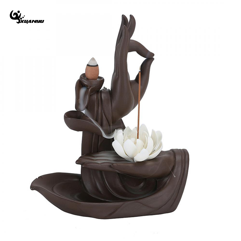 Porcelain White Lotus Smoke Backflow Incense Burner Cone Stick Holder +10pc Cone Incense Creative Home Bouddha Decor climbing hold