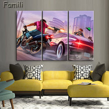 3pcs New product HD Gta 5 Wallpaper Hd painting home decorative art painting calligraphy cheap modern paintings Grand Theft Aut
