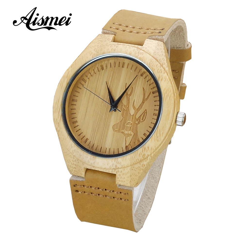 Hot sale Fashion Elk Deer Bamboo Watches Men Women Genuine Leather Strap Casual Nature Wood watch Creative Male Female Clock