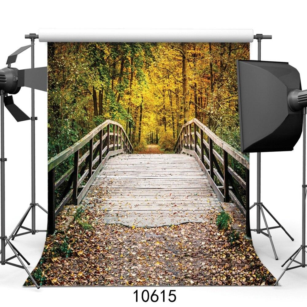 10x10ft Podzim Fotografie kulisy Dřevěný most foto pozadí pozadí fotografie kulis vinyl