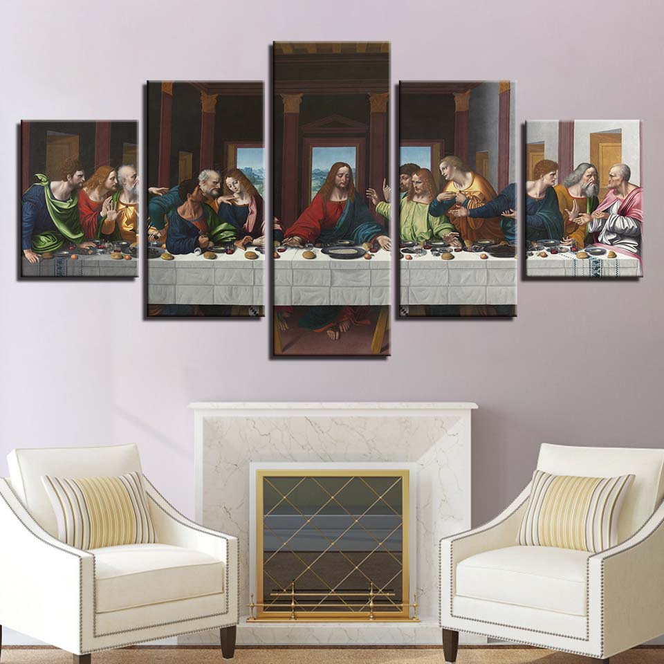 Home Interior Jesus: Canvas Poster For Living Room Home Decor 5 Pieces Last