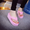 Increased 6.6cm noble and high-heeled sandals high-quality fashion herringbone beach shoes slippers home vacation collar goddess
