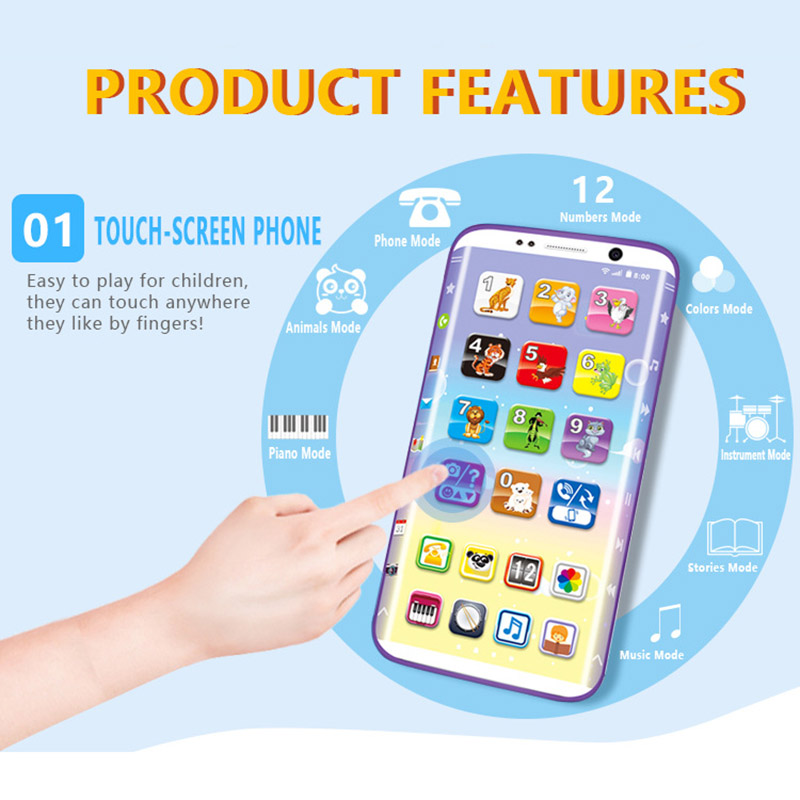 Kids Smart Phone Toys Educational Smart Phone Toy USB Port Touching Screen for Child Kid Baby