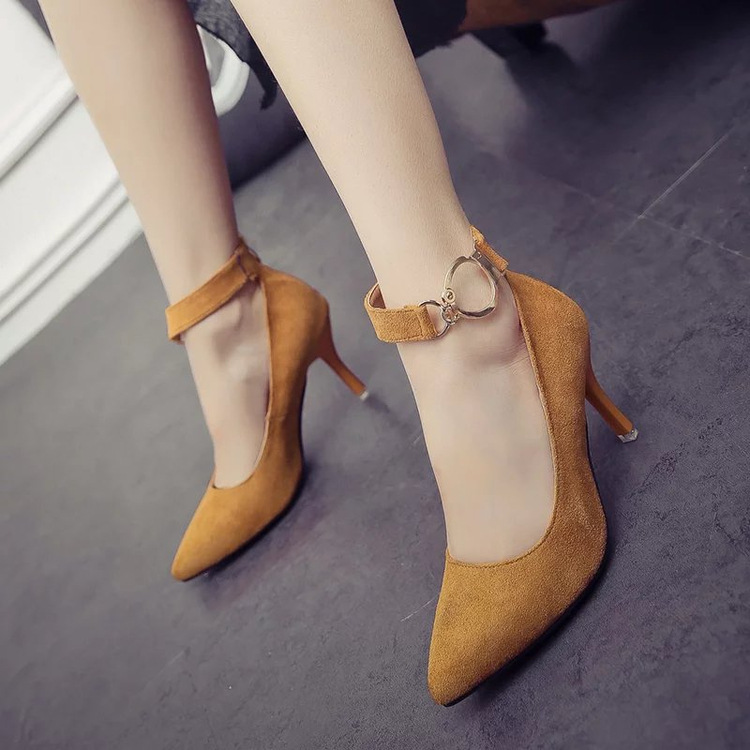 ФОТО  ring after the zipper with the heels of high-heeled shoes single female spring and autumn suede fashion wedding shoes