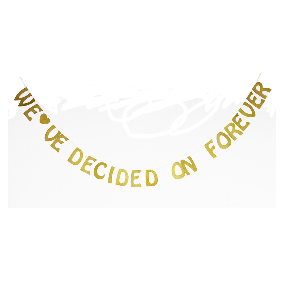 Weve Decided On Forever Gold Glitter Letter Banner Bridal Shower Wedding Engagement Party Sign Photo Prop Backdrop Decorations