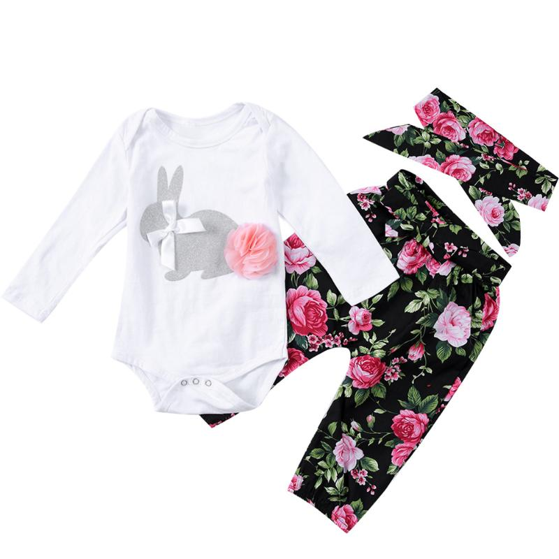 Baby Boys Girls Clothes Set Floral Autumn Spring Rabbit Overall Flower Pants Headband 3pcs Newborn Clothing