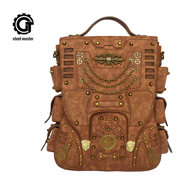 Fashion Retro Women Rivet Punk Backpack Gothic Personality PU Leather Travel Bag Steampunk Women Backpack