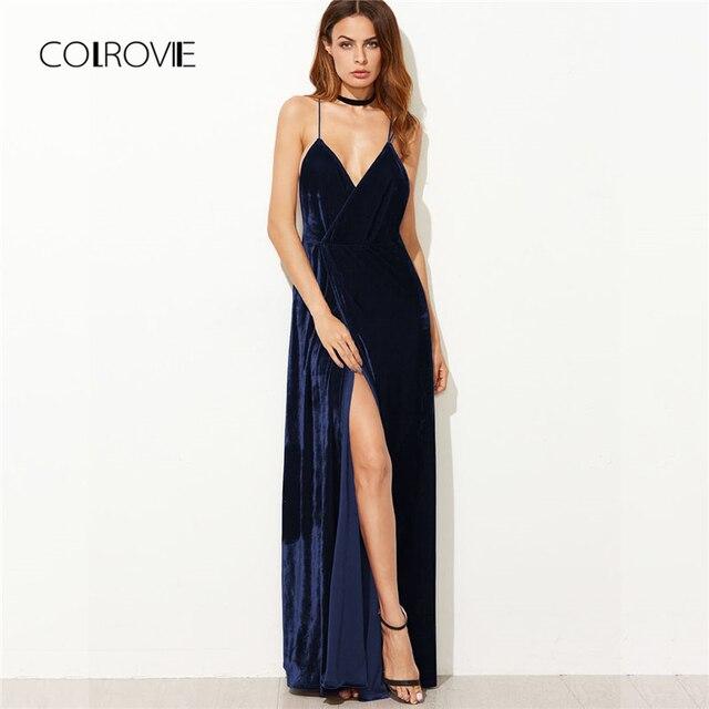 COLROVIE Strappy Backless Wrap Velvet Maxi Dress 2018 Deep V Neck Sleeveless  Shift Dress High Waist 8e7fdf726