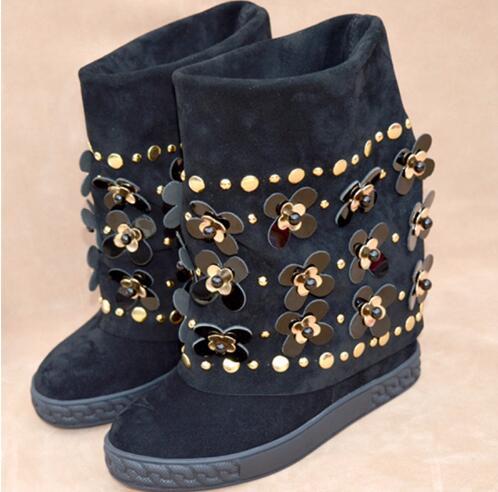 Nova Moda Floral Embelezado Cravejado Ankle Boots de Camurça Preto Botas de Cunha Altura Increaing Mulheres Botas de Inverno - 5
