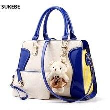 New Fashion Women Bag Little Bear Decoration Shoulder Bags Famous Brand Handbag Totes Bag Set Leather