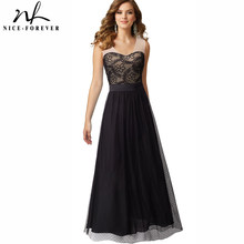 Nice-forever Elegant Mesh Floral Lace Flare Party Gown Sleeveless Maxi Black Chiffon Women Dress btyA039(China)