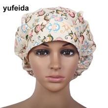 YUFEIDA Unisex Medical Caps Hospital Doctor Nurse Woman Lab Printing Surgical Cap Cotton Adjustable Jalecos Long Hair Scrub Cap
