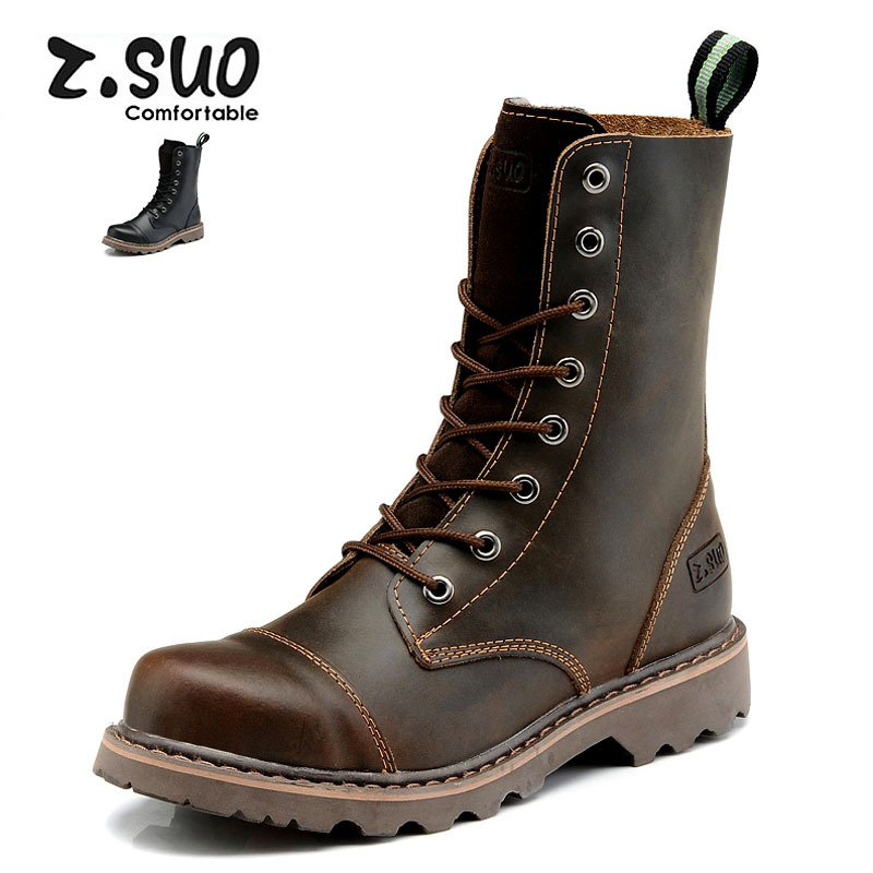 hot 2017 authentic men s boots british tide martin boots men s leather boots leather boots lovers scooter 34 45 Z.Suo Lovers Mid-Calf Genuine Leather Boots Men Boots Martin England Cowboy Boots Shoes Unisex Desert Tactical Boots ZS8818
