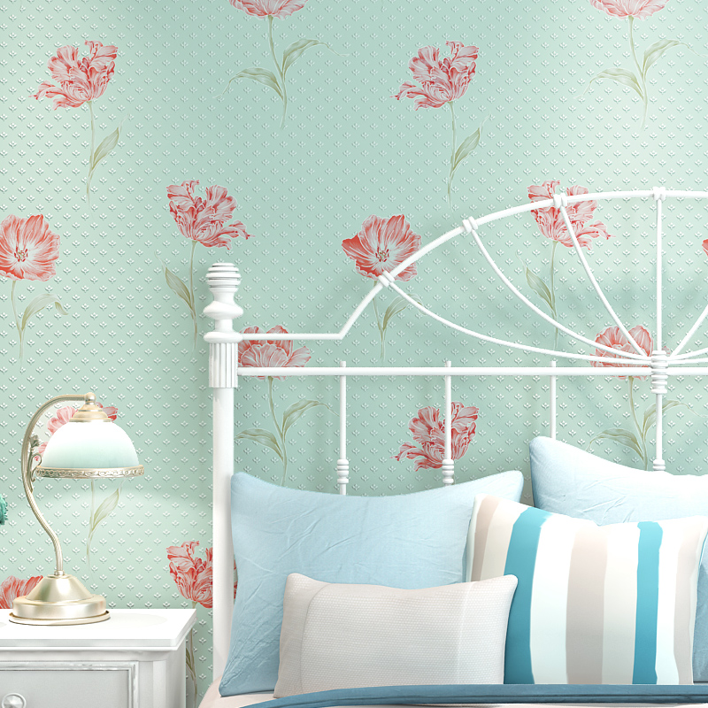 Thickening 3d three-dimensional rustic wallpaper eco-friendly big flower non-woven wallpaper sofa background wall brief