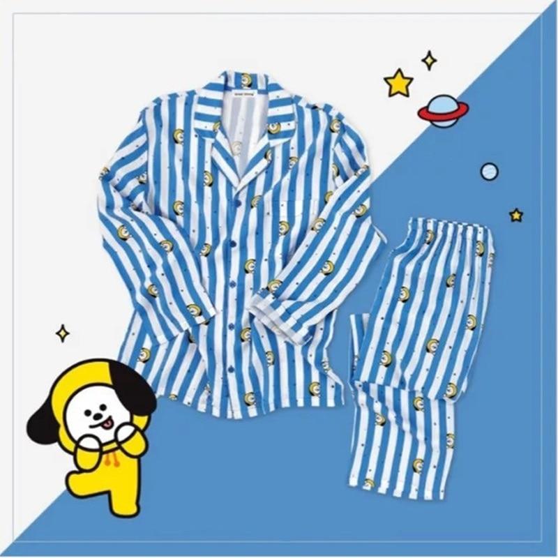 Women Autumn Wimnter   Pajamas     Sets   Kpop Bangtan Boys BT21 Version V Suga Same Harajuku   Pajamas   Shirt Nighty Bedgown Sleepwear   Set