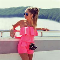 2017 New Summer Sexy Jumpsuits Women Fashion Beach One-Piece Ruffles Strapless Tops + Shorts Casual Romper