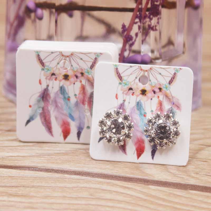 50pcs Good Luck Dreamcatcher Small Earring Paper Package Card DIY Handmade/flower/romatic Heart Elegant Stud Earring Card