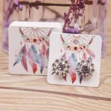 50pcs good luck dreamcatcher small earring paper package card DIY handmade/flower/romatic heart elegant stud