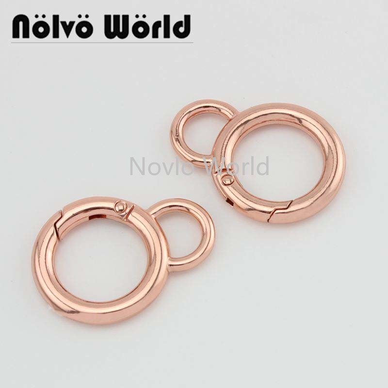 Wholesale 500pcs, High Fashion High Quality Rose Gold  Metal O Ring Spring Coil Ring Handbag Purse Hook Diy Hardware Accessories