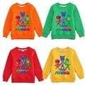PjMasks Espessamento Manga Longa T-shirts para Crianças Meninas de inverno Além de Veludo Hoodies Casacos Meninos Dos Desenhos Animados das Camisolas das Crianças Top